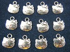 50 x Tibétain Argent Hello Kitty Face CHARMS pour colliers bracelets, bijoux.