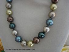 Perlenkette aus MuschelkernPerlen 12mm / 46cm, Multicolor, Handarbeit, Geschenk