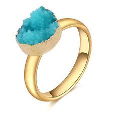 Charm Natural Druzy Raw Rock Crystal Quartz Adjustable Stone Ring Gold Plated