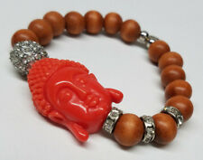 BUDDHA HEAD  Wood Beads + Crystals STRETCH BRACELET  Orange Charm GOOD LUCK  New