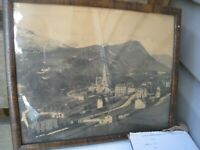 Lourdes France PYRENEES 12x9 early vintage photographic image SEPIA TONE 1920s