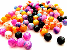 100 Marbled Mottled Glass Beads 8mm Mixed Colours J22450XE