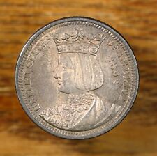 Raw 1893 Isabella Commemorative 25C Uncertified Ungraded Silver Quarter Coin .