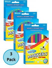 30 Bazic Classic Intense Primary Color Fine Line Washable Markers Back-To-School