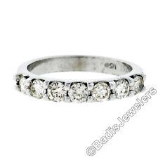 14K Oro Blanco .70ctw Brillante Redondo Compartido Pinza Diamante 3mm Anillo de