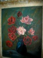 VINTAGE ROSES OIL PAINTING IMPRESSIONIST CHIPPY CHUNKY WOOD GESSO FRAME 1940's