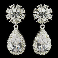 "Silver Clear ""Kim Kardashian"" Inspired Crystal Earrings #2538"