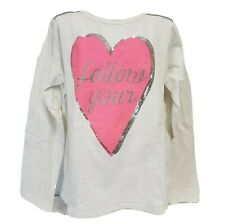 OshKosh Originals Girls Long Sleeve Shirt Top Size 12 white pink heart sequins