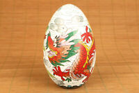 chinese old colour cloisonne hand painting dragon egg statue