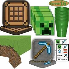 Minecraft Birthday Party Supplies for 16 full decorations kit- incl tablecloth+