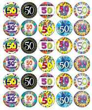 30 x 50th Birthday Edible Cupcake Toppers Wafer Paper Fairy Cake Topper