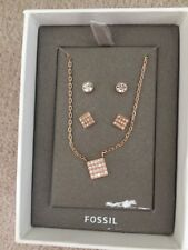 Fossil Sterling Silver Necklace and earring set BNIB RRP£89 With Fossil PaperBag