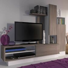 Mueble TV television para salon comedor color cafe y blanco 200X40x163 cm