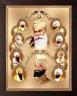 Indian craft All Ten Sikh Gurus Unique Religious Painting