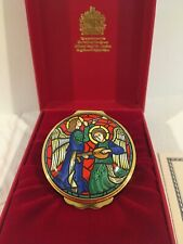 Halcyon Days English Enamel 1998 Stained Glass Christmas Lg Round Glass