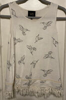 W5 Womans Tank Top Hummingbird Design M Medium EUC