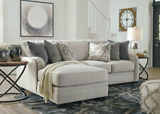 Transitional Living Room Sectional Light Gray Fabric Sofa Couch Chaise Set IG0N