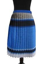 Ostwald Helgason Womens Pleat  Skirt Royal Navy Light Blue Silver Taupe Size 6|8