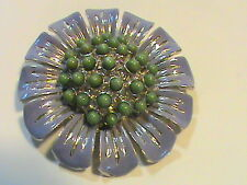 raised Green Bead Center Violet Flower Brooch with