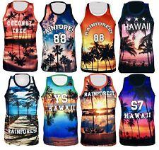 9d4e053679d993 Mens Hawaii Mesh Net Vest Sleeveless T Shirt Summer Printed Basket Ball  Summer