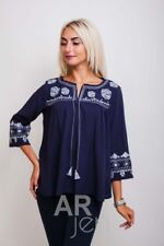 Ukrainian Embroidered modern women's dark blue Shirts Blouse Size M, L #2