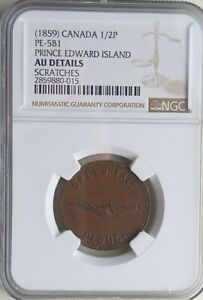 1859 Canada 1/2 penny token Fisheries & Plow PE-581 NGC rated AU details Scratch