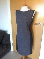 Ladies LAURA ASHLEY Dress Size 14 Grey Black Tweed Wiggle Pencil Work Party