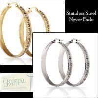 Genuine Swarovski Crystals Stainless Steel Silver Gold Loop Hoop Earrings
