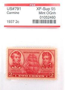 .US STAMP #791 1937 2c CARMINE PSE GRADED XF-SUP 95 MINT OGnh