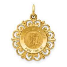 14K Yellow Gold Our Lady Of Sorrows Medal Pendant D3760