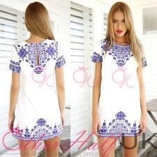 Cotton Blend Short Sleeve Casual Geometric Dresses for Women