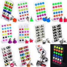 Lot 24pcs wholesale Mixed Color Earring Studs Leopard Flower Heart Stud Earrings