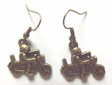 Boucles d'oreilles couleur bronze moto et motard 20x17 mm