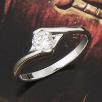 Stylish 18K White Gold Plated Solitaire clear crystal Stone Wedding Ring 7