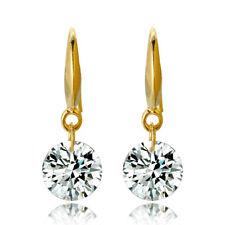 Women 18k Yellow Gold Filled Round Cut White Topaz Gemstone Hook Dangle Earrings
