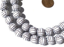 White with black design Acrylic round spacer Beads-Jewelry Supplies