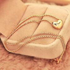 Elegant Womems Jewelry Heart Shape Bib Statement Long Chain Necklace Pendant