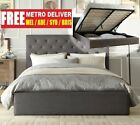 CHESTER GAS LIFT DOUBLE QUEEN KING SIZE GREY CHARCOAL FABRIC BED FRAME