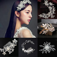 Wedding Bridal Rhinestone Crystal Pearl Flower Hair Comb Hairpin Clip Accessory