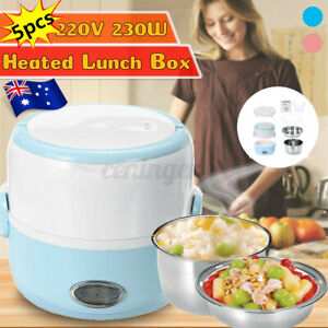 AU 1.3L 2 Layers Electric Lunch Box Storage Steamming Container Steam