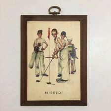 """Vintage Norman Rockwell 'Missed!' Art On Wood Wall Plaque - 7"""" x 5 1/8"""" x 3/4"""""""