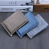 NE_ Fashion Faux Leather Business Men Wallet Credit Card Holder with Metal Clip