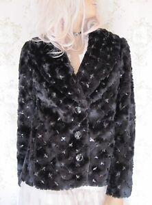 Rare! VTG GLAMOUR *Damsel~In~A~Dress* Sequin Faux Mink Fur Jacket Coat Black M