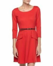 NWT Donna Morgan CHERRY RED Studded Belted Fit & Flare Dress - Size 10