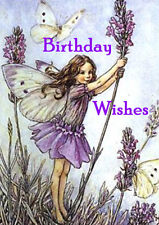 HAPPY BIRTHDAY GREETINGS CARD BEAUTIFUL FAIRY ANGEL GIRL WITH BUTTERFLIES