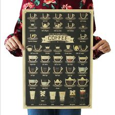 All Kinds Of Coffee Cups Art Poster Kraft Paper Design Home Interior Cofe Bar MA