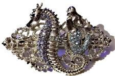 Vintage Art Deco Nouveau Blue Mermaid Crystal Rhinestone Hair Barrette Clip Gift