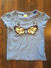 Size 3T blue EMBROIDERED LEOPARD PRINT CAT FACE t-shirt by GYMBOREE