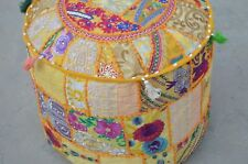 New Patchwork Handmade Round Vintage Ottoman Pouf Indian Footstool Pouffe Ethnic