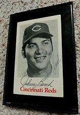 Vintage Johnny Bench Cincinnati Reds Signed Framed Black & White Photo